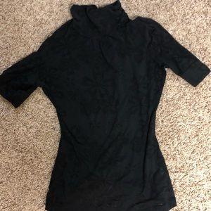 BKE Tops - Women's BKE Black floral Turtle Tee Short Sleeve S